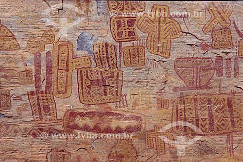 Inscrições rupestres no Sítio Arqueológico do Vale do Peruaçu - MG - Brasil  - Itacarambi - Minas Gerais - Brasil