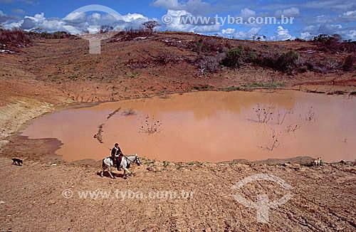 Sertanejo, acompanhado de seus cães farejadores, percorre um pequeno açude no Raso da Catarina - Caatinga - Brasil