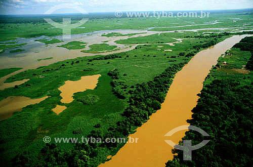 Assunto: Vista aérea do Pantanal - PARNA do Pantanal Matogrossense - a área é Patrimônio Mundial pela UNESCO desde 2000 / Local: Poconé - MT - Brasil / Data: 2006