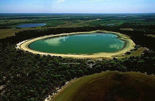 Vista aérea do Pantanal Matogrossense mostrando lago de sal mineral - Mato Grosso do Sul - MS - Brasil / Data: Julho de 1996