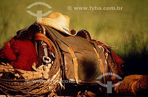 Sela e chapéu de pantaneiro ou vaqueiro - Pantanal - Brazil / Data: 1996