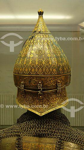 Armadura (Capacete) em exposição no Palácio Topikapi - (1475) - Estilo Cássico Otomano - Istambul - Turquia - Outubro de 2007