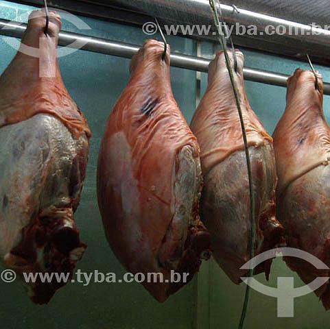 Agropecuária / Agroindústria / Agronegócio : carne exposta em frigorífico de açougue, Mercado Municipal de São Paulo, SP, Brasil. Data: 25 de janeiro de 2004