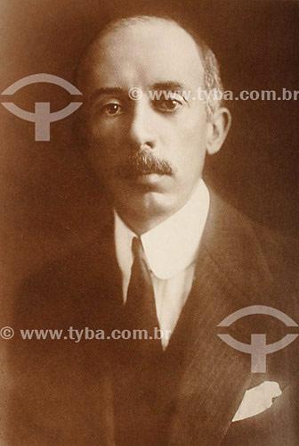 Reprodução de Retrato de Santos Dumont - Acervo do MUSAL (Museu Aeroespacial)  - Rio de Janeiro - Rio de Janeiro - Brasil