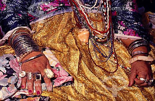 Detalhe das vestimentas usadas no Camdomblé - Religião afro-brasiliera - Bahia - Brasil  - Bahia - Brasil