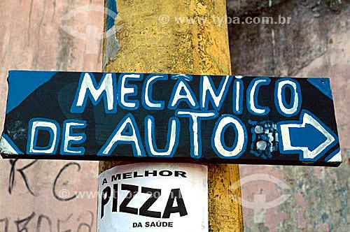 Placa de anúncio de mecânico de automóveis