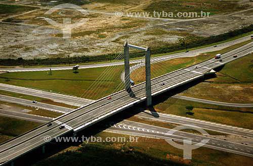 Interligação da Baixada na Rodovia dos Imigrantes - Ponte Estaiada - SP - Brasil - 10/2003  - Cubatão - São Paulo - Brasil