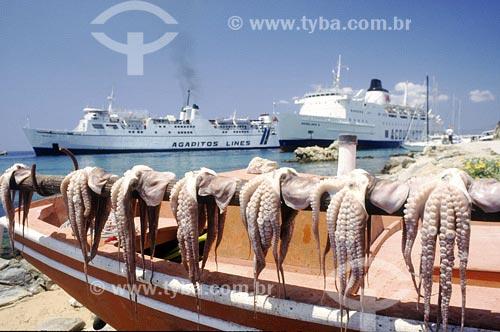 Assunto: Polvos sobre barco - Navios ao fundoLocal: Mykonos - GréciaData: