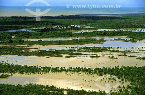 Assunto: Foto aérea da ilha de Cassurubá / Local: Reserva Extrativista Marinha de Cassurubá, Caravelas - BA / Data: 2006 Nesses manguezais é que se reproduzem grande parte dos peixes que habitam os recifes de corais de Abrolhos
