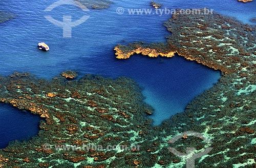Assunto: Recife de coral em forma do mapa do Brasil no entorno do Parque / Local: Parque Nacional Marinho dos Abrolhos - BA / Data: 08/2008