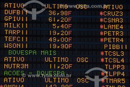 Assunto: Painel eletrônico de cotações da bolsa de valores de São Paulo (BOVESPA) / Local: São Paulo - SP / Data: 09/2008