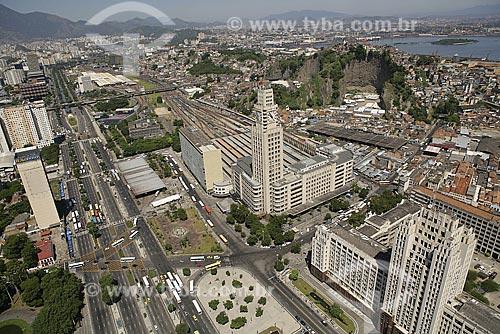 Vista aérea do Centro da Cidade do Rio de Janeiro, em destaque o quartel General do Exército e a estação ferroviária Central do Brasil (Estrada de Ferro Central do Brasil). Avenida Presidente Vargas  - Rio de Janeiro - Rio de Janeiro - Brasil