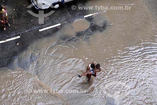 Assunto: Enchente de verão na zona sul do Rio de Janeiro / Local: Leme - Rio de janeiro - RJ - Brasil / Data: 2008