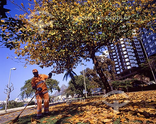 Assunto: Gari colhendo folhas no outono / Local: Lagoa Rodrigo de Freitas - Rio de Janeiro - Rio de Janeiro (RJ) - Brasil / Data: 2008