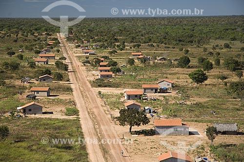Assunto: Vista aérea de um povoado na região do Cerrado / Local: perto de São Félix do Araguaia - Mato Grosso (MT) - Brasil / Data: Junho de 2006