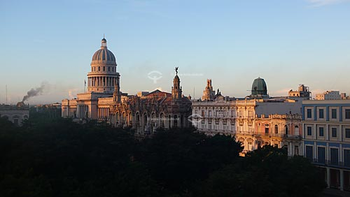 Assunto: Vista parcial do Capitólio, do Gran Teatro de la Habana (Grande Teatro de Havana) e do Hotel Inglaterra/ Local: Havana - Cuba / Date: outubro 2009