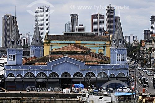 Assunto: Mercado de Peixes no Ver o Peso visto do Forte do Presépio mostrando os prédios ao fundo / Local: Belém - Pará - Brasil / Data: 05-05-2009