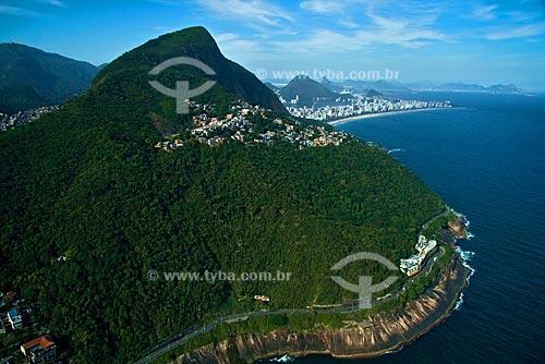 Assunto: Vista aérea do Vidigal e da avenida Niemeyer com Ipanema ao fundo / Local: Rio de Janeiro - RJ - Brasil / Data: Outubro de 2009