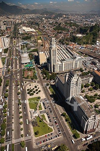Assunto: Vista aérea da Avenida Presidente Vargas e da Estação Central do Brasil / Local: Rio de Janeiro - RJ - Brasil / Data: Março de 2005