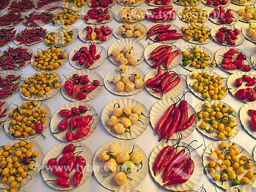 Assunto: Pratinhos de pimenta em feira livre / Local: Rio de Janeiro - Rio de Janeiro - Brasil / Data: 01/08/2009