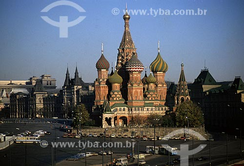 Assunto: Vista da Catedral de São Basílio na Praça Vermelha / Local: Moscou - Rússia / Data: 1994