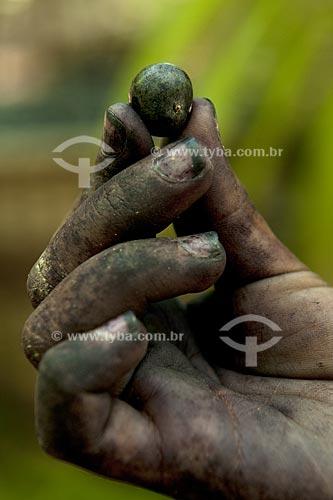Assunto: Detalhe de mão segurando caroço de açai  / Local: Abaetetuba - Pará - Brasil / Data: 01/11/2009