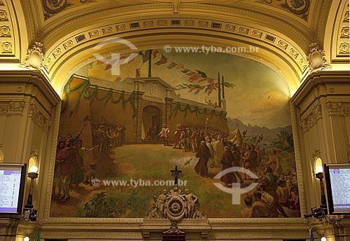 Plenário do Palácio Pedro Ernesto, com o painel Fundação da Cidade do Rio de Janeiro no Morro do Castelo de autoria de Rodolpho de Amoêdo   - Rio de Janeiro - Rio de Janeiro - Brasil