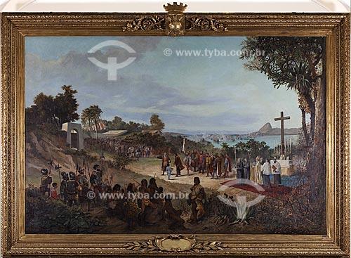 Reprodução da obra A Fundação do Rio de Janeiro de Antonio Firmino Monteiro, no Palácio Pedro Ernesto  - Rio de Janeiro - Rio de Janeiro - Brasil