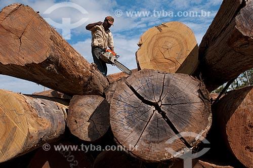 Assunto: Homem trabalhando em manejo florestal / Local: Xapuri - Acre (AM) - Brasil / Data: 10/07/2008