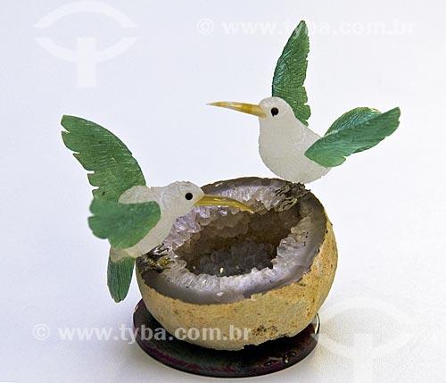 Assunto: Escultura em pedra semipreciosa  / Local:  Ametista do Sul - RS - Brasil  / Data: Setembro de 2009