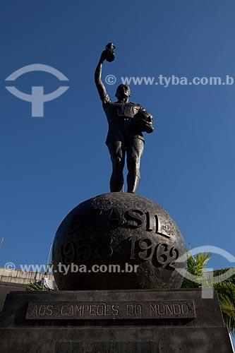 Estátua do Bellini, feita pelo escultor Mateus Fernandes, em frente ao Estádio Jornalista Mário Filho - Maracanã. A estátua homenageia os campeões de 1958 e 1962 e recria o gesto do capitão Bellini de erguer a taça em comemoração ao título   - Rio de Janeiro - Rio de Janeiro - Brasil