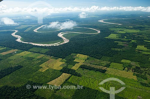 Assunto: Vista aérea de zona de agricultura perto do rio Yapacani  / Local:  Departamento Santa Cruz - Bolívia  / Data: 03/2008