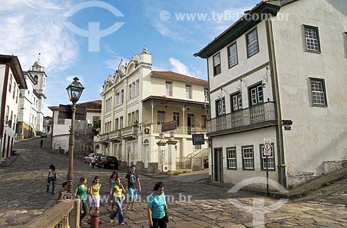 Assunto: Vista da parte comercial histórica da cidade, com a catedral ao fundo  / Local:  Diamantina - Minas Gerais - MG - Brasil  / Data: 12/2009