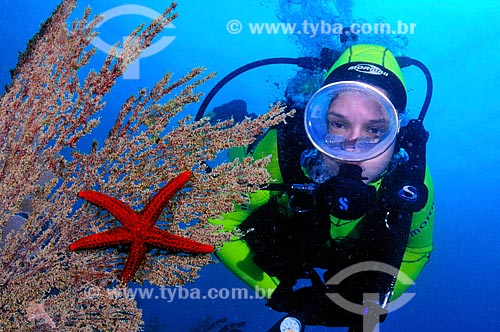 Assunto: Mergulhadora e estrela do mar / Local: Ilha dos Pargos - Cabo Frio - Rio de Janeiro (RJ) - Brasil / Data: 14/10/2008
