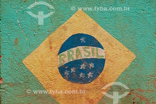 Assunto: Muro pintado com a bandeira do Brasil no Morro do Chapéu  / Local:  Parauapebas - Pará  - Brasil  / Data: 10/2010