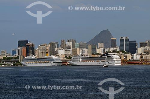 Assunto: Porto do Rio de Janeiro, com o Centro da cidade e o Pão de Açúcar ao fundo  / Local:  Rio de Janeiro - RJ - Brasil  / Data: 03/2010