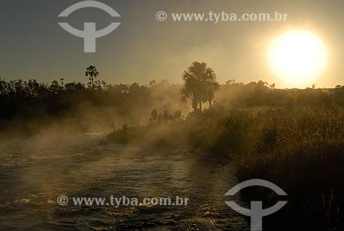 Assunto: Nascer do sol com neblina no Rio Formoso, o principal rio do Parque Nacional das Emas. / Local: Parque Nacional das Emas - Goiás (GO) - Brasil  / Data: 03 agosto 2006