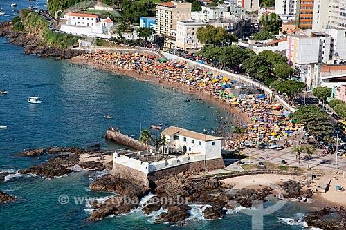 Assunto: Vista aérea da Praia do Porto da Barra e do Forte de Santa Maria  / Local:  Salvador - Bahia - BA  / Data: 1/2011