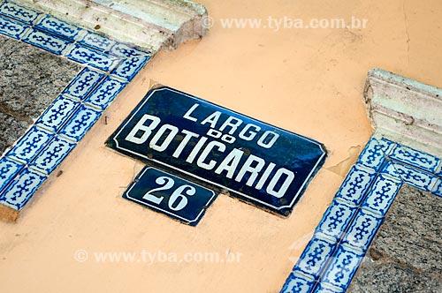 Assunto: Placa do Largo do Boticário / Local: -  Cosme Velho  -  Rio de Janeiro  -  Rio de Janeiro (RJ)  -  Brasil  / Data: Fevereiro de 2010