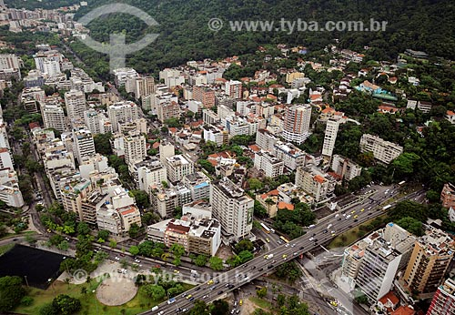 Assunto: Vista aérea dos bairros do Humaitá e Jardim Botânico,  na saída do Túnel Rebouças / Local: Rio de Janeiro (RJ)   -  Brasil / Data: 01/2011
