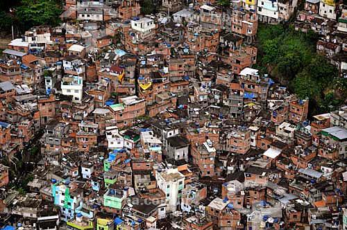 Assunto: Vista aérea da Favela Dona Marta  / Local: Botafogo - Rio de Janeiro (RJ) - Brasil / Data: 01/2011