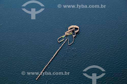 Assunto: Vista aérea de curral para pesca de peixe na Baía de Guanabara / Local: Rio de Janeiro (RJ) - Brasil / Data: 01/2011