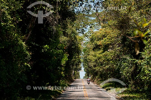 Assunto: Motoqueiro na rodovia CE-055 - Floresta Nacional do Araripe / Local: Crato - Ceará (CE) - Brasil / Data: 08/2010