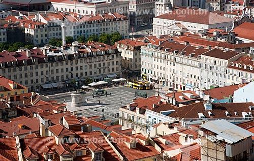 Assunto: Vista aérea do centro de Lisboa a partir do Castelo de São Jorge - Praça da Figueira no centro / Local: Lisboa - Portugal - Europa / Data: 10/2010
