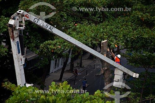 Assunto: Prefeitura realizando poda de árvore com plataforma suspensa  / Local: Copacabana - Rio de Janeiro (RJ) - Brasil / Data: 02/2011
