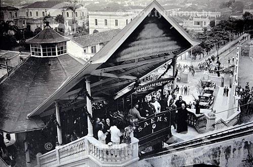 Assunto: Reprodução - Funicular de Monte Serrat (1923 - acervo da Prefeitura de Santos) / Local: Santos - São Paulo (SP) - Brasil / Data: 08/2011