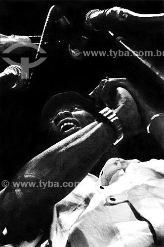 Assunto: Milton Nascimento discursando no Comício das Diretas em frente à Igreja Nossa Senhora da Candelária / Local: Rio de Janeiro (RJ) -  Brasil / Data: 04/1984