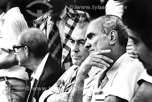 Assunto: Teotônio Vilela com Leonel Brizola e Saturnino Braga nas comemorações do 1º de maio na Quinta da Boa Vista / Local: Rio de Janeiro (RJ) -  Brasil / Data: 05/1983