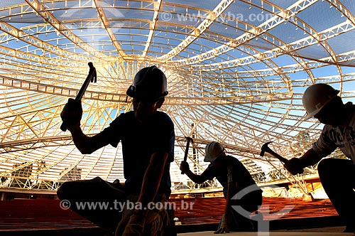 Assunto: Operários na reforma do Auditório Araújo Vianna / Local: Porto Alegre - Rio Grande do Sul (RS) - Brasil / Data: 07/2011