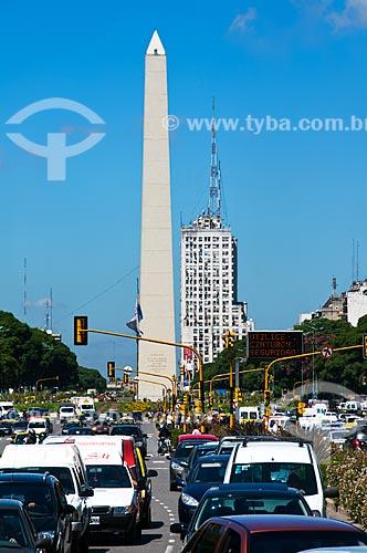 Assunto: Vista da Avenida 9 de Julho ao fundo Obelisco de Buenos Aires   / Local: Buenos Aires - Argentina - América do Sul / Data: 03/2010